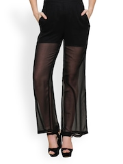 TshirtCompany Women Black Sheer Palazzo Pants