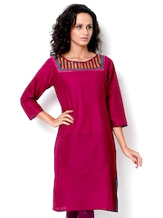 Tulsattva Women Wine Coloured Kurta