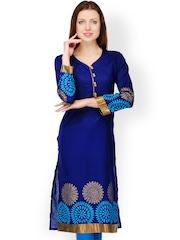 Tulsattva Women Blue Printed Kurta