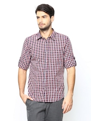 Turtle Men Navy & Pink Checked Slim Fit Casual Shirt