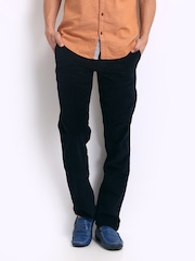 Turtle Men Navy Corduroy Modern Slim Fit Trousers