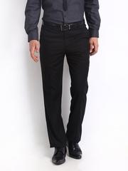 Turtle Men Black Slim Fit Formal Trousers