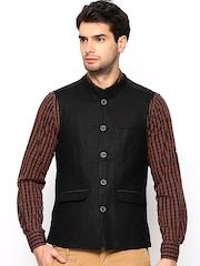 Turtle Men Black Linen Slim Fit Nehru Jacket