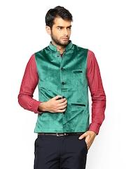 Turtle Men Green Velvet Nehru Jacket