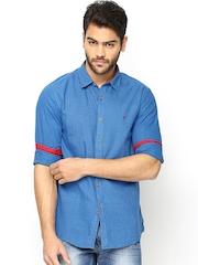 Turtle Men Blue Khadi Slim Fit Casual Shirt