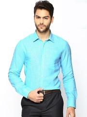 Turtle Men Blue Linen Slim Fit Smart Casual Shirt
