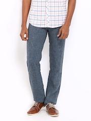Turtle Men Blue Slim Fit Trousers