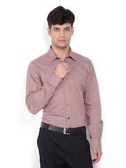 Turtle Men Brown & Peach Coloured Checked Slim Fit Formal Shirt