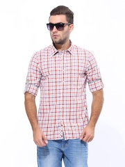 Turtle Men Brown & White Checked Slim Fit Casual Shirt