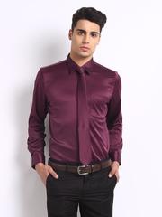 Turtle Men Burgundy Luxury Slim Fit Formal Shirt with Tie