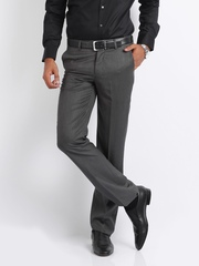 Turtle Men Grey Self Striped Slim Fit Tailored Formal Trousers