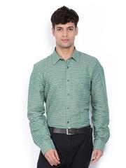 Turtle Men Green & Grey Checked Linen Blend Slim Fit Formal Shirt
