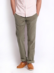 Turtle Men Light Brown Corduroy Modern Fit Trousers