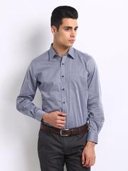Turtle Men Navy & Grey Striped Tailored Slim Fit Formal Shirt