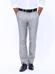 Turtle Men Grey Slim Fit Linen Trouser