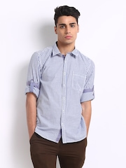 Turtle Men Navy & White Striped Slim Fit Casual Shirt