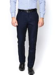 Turtle Men Navy Slim Fit Linen Semiformal Trousers