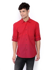 Turtle Men Red Striped Slim Fit Casual Shirt
