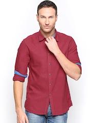 Turtle Men Red Khadi Slim Fit Casual Shirt