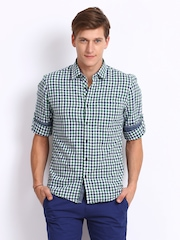 Turtle Men Green & Navy Checked Slim Fit Casual Shirt