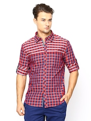 Turtle Red & Navy Checked Slim Fit Casual Shirt