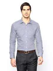 Turtle Men White Checked Slim Fit Formal Shirt
