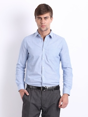 Turtle Men Blue Slim Fit Formal Shirt