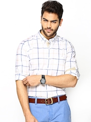 Turtle Men White Checked Slim Fit Casual Shirt