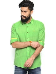 Turtle Men Green Slim Fit Khadi Casual Shirt