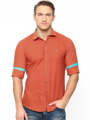 Turtle Men Orange Slim Fit Khadi Casual Shirt
