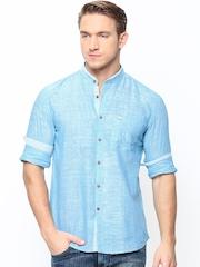 Turtle Men Blue Slim Fit Khadi Casual Shirt