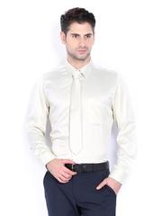 Turtle Men Cream-Coloured Slim Fit Formal Shirt & Tie