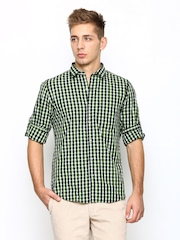 Turtle Men Green & Black Checked Slim Fit Casual Shirt