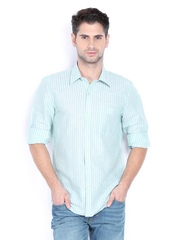 Turtle Men Green & White Linen Blend Striped Slim Fit Casual Shirt