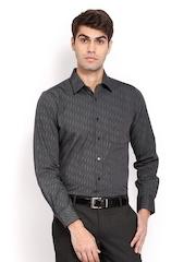 Turtle Men Black & Grey Striped Slim Fit Smart Casual Shirt