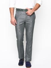 Turtle Men Steel Grey Linen Slim Fit Smart Casual Trousers