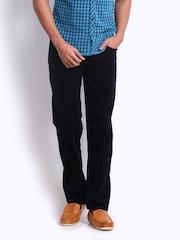 Turtle Men Navy Modern Slim Fit Corduroy Trousers