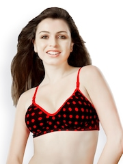 Tweens Red & Black Printed Full coverage T-shirt Bra TW1324PR40D