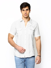 Scapes by TWILLS Men Off-White Linen Casual Shirt