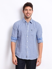 U.S Polo Assn. Men Blue & White Checked Linen Blend Tailored Fit Casual Shirt