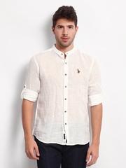 U.S Polo Assn. Men White Linen Slim Fit Casual Shirt