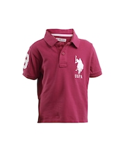 U.S. Polo Assn. Kids Boys Pink Polo T-shirt