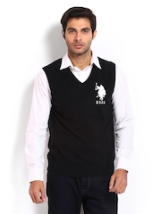 U.S. Polo Assn. Men Black Lambswool Sleeveless Sweater