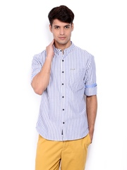 U.S. Polo Assn. Men Blue & White Striped Casual Shirt