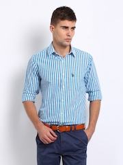 U.S. Polo Assn. Men Blue & White Striped Smart-Casual Tailored Fit Shirt