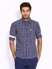 U.S. Polo Assn. Men Blue & Yellow Checked Tailored Fit Smart-Casual Shirt