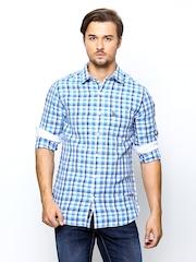 U.S. Polo Assn. Men Blue Checked Linen Blend Tailored Fit Casual Shirt
