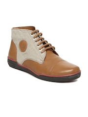 Men Tan Brown & Beige Leather Casual Shoes U.S. Polo Assn.