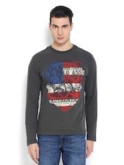 U.S. Polo Assn. Men Dark Grey Printed T-shirt
