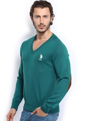 U.S. Polo Assn. Men Teal Green Woollen Sweater